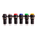 Выключатель - кнопка без подсветки без провода (круглый черный, с фиксацией)