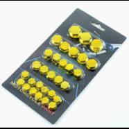 Колпачки - заглушки болтов и гаек (желтый пластик, 30 шт.)