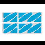 Наклейки эмблем бензобака Иж тип1 (винил, серо-голубые, 2 шт.)
