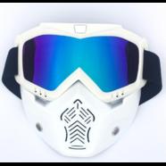 Очки защитные с маской Moto (белая, радужное стекло, маска-фильтр снимается)