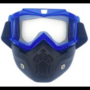 Очки защитные с маской Moto (черно-синяя, прозрачное стекло, маска-фильтр снимается)