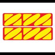 Наклейки эмблем бензобака Иж тип1 (винил, красно-желтые, 2 шт.)