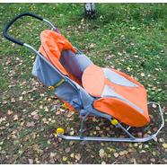 Санки-коляски детские Тимка Т2К Комфорт (оранжево-серые, с колесами)