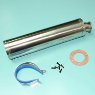 Глушитель прямоточный (420 x 100 мм., ЦИЛИНДР N4 ХРОМ, переходник D100 мм.)