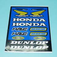 Наклейки Хонда DUNLOP (винил, 220 х 330 мм., 14 наклеек, синие)