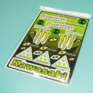 Наклейки КАВАСАКИ Monster (винил, зеленые, 300 х 450 мм., 25 шт.)