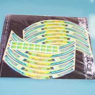Наклейки на колесо 10-12 MONSTER (желто-синие светоотражающие, 16 полосок)