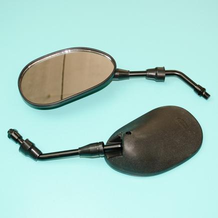 Зеркала 036 (пластиковые черные ОВАЛЬНЫЕ, М8 x 135 x 80 мм.)