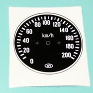 Наклейка спидометра СП-158 Урал (черная, под 10 зуб. до 200 км.)