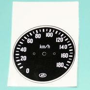 Наклейка спидометра СП-158 Урал (черная, под 9 зуб. до 180 км.)