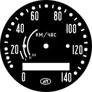 Наклейка спидометра СП-102 Урал (черная, 3 полосы, под 8 зуб.)