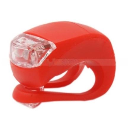 Фонарь силиконовый вело (2 белых диода, красный корпус)