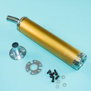 Глушитель прямоточный Альфа, скутер (280 x 60 мм., N10 ЗОЛОТО, переходник D65 мм.)