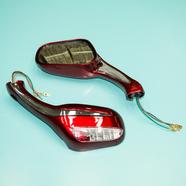 Зеркала 070/020 (пластиковые, красные с поворотами, плоские клеммы, М8 x 130 x 75 мм.)